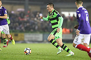 Forest Green Rovers Lee Collins(5) runs forward during the The FA Cup match between Forest Green Rovers and Exeter City at the New Lawn, Forest Green, United Kingdom on 2 December 2017. Photo by Shane Healey.