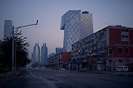 View of CCTV tower at sunset in Beijing, China