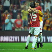Galatasaray's Milan BAROS (L) celebrate his goal with team mate during their Friendly soccer match Galatasaray between Liverpool at the TT Arena at Arslantepe in Istanbul Turkey on Saturday 28 July 2011. Photo by TURKPIX