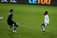 Nathan Dyer of Swansea city scores his teams 2nd goal past Notts county goalkeeper Adam Collin. . The Emirates FA Cup, 4th round replay match, Swansea city v Notts County at the Liberty Stadium in Swansea, South Wales on Tuesday 6th February 2018.<br /> pic by  Andrew Orchard, Andrew Orchard sports photography.
