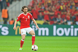 LILLE, FRANCE - Friday, July 1, 2016: Wales' Joe Allen in action against Belgium during the UEFA Euro 2016 Championship Quarter-Final match at the Stade Pierre Mauroy. (Pic by Paul Greenwood/Propaganda)