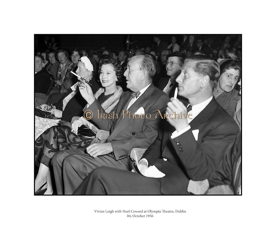 """Vivian Leigh with Noel Coward at Olympia Theatre.04/10/56..Vivien Leigh, Lady Olivier (05/11/1913 - 07/07/1967) was an English actress. She won the Best Actress Academy Award for her portrayal of Blanche DuBois in A Streetcar Named Desire (1951), a role she also played on stage in London's West End, as well as for her portrayal of the southern belle Scarlett O'Hara, alongside Clark Gable, in the epic American Civil War drama Gone with the Wind..She was a prolific stage performer, frequently in collaboration with her then-husband, Laurence Olivier, who directed her in several of her roles. During her 30-year stage career, she played roles ranging from the heroines of Noël Coward and George Bernard Shaw comedies to classic Shakespearean characters such as Ophelia, Cleopatra, Juliet and Lady Macbeth..Lauded for her beauty, Leigh felt that it sometimes prevented her from being taken seriously as an actress. However, ill health proved to be her greatest obstacle. For much of her adult life Leigh suffered from bipolar disorder. She earned a reputation for being difficult to work with, and her career suffered periods of inactivity. She also suffered recurrent bouts of chronic tuberculosis, first diagnosed in the mid-1940s. Leigh and Olivier divorced in 1960, and she worked sporadically in film and theatre until her death from tuberculosis in 1967..Sir Noël Peirce Coward (16/12/1899 - 26/03/) was an English playwright, composer, director, actor and singer, known for his wit, flamboyance, and what Time magazine called """"a sense of personal style, a combination of cheek and chic, pose and poise""""..Born in Teddington, a suburb of London, Coward attended a dance academy in London as a child, making his professional stage début at the age of eleven. As a teenager he was introduced into the high society in which most of his plays would be set. Coward achieved enduring success as a playwright, publishing more than 50 plays from his teens onwards. Many of his works, such as Hay Fever"""