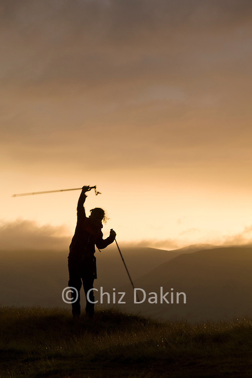 Awesome sunset silhouette on the final summit of LoseHill makes a memorable end to the Edale Skyline walk