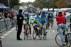 Klemen Stimulak, Jan Polanc and Mark Dzamastagic  at start during the Men´s Under 23 Road Race  on day five of the UCI Road World Championships on September 23, 2011 in Copenhagen, Denmark. (Photo by Marjan Kelner / Sportida Photo Agency)