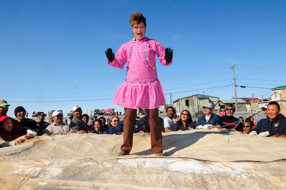 Governor Sarah Palin in blanket toss, Point Barrow. | Accent Alaska