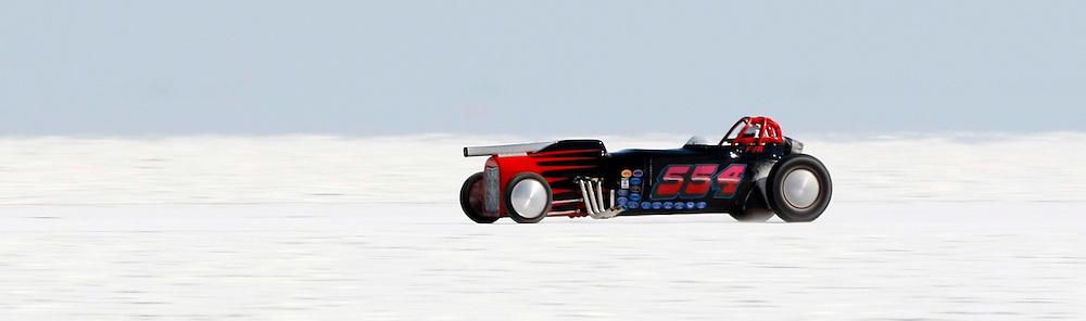 Best cars-people-atmosphere-photos of 2009 Bonneville Speed Week- 554 Racing's 1929 Ford Roadster, driven by Jack Solomon of Oakland, CA. makes a run at the Bonneville Speed Way. August 9, 2009.  Photo by Colin E. Braley