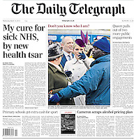 Daily Telegraph Page One: Zara Phillips is prevented from crossing the parade ring by an over zealous security guard at the Cheltenham Festival, Gloucestershire, UK, on the 12th March 2013<br /> <br /> Picture by James Whatling