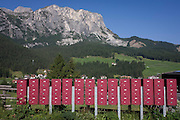 Pink post boxes outside a village school in Leonhard-St Leonardo, a Dolomites village in south Tyrol, Italy.