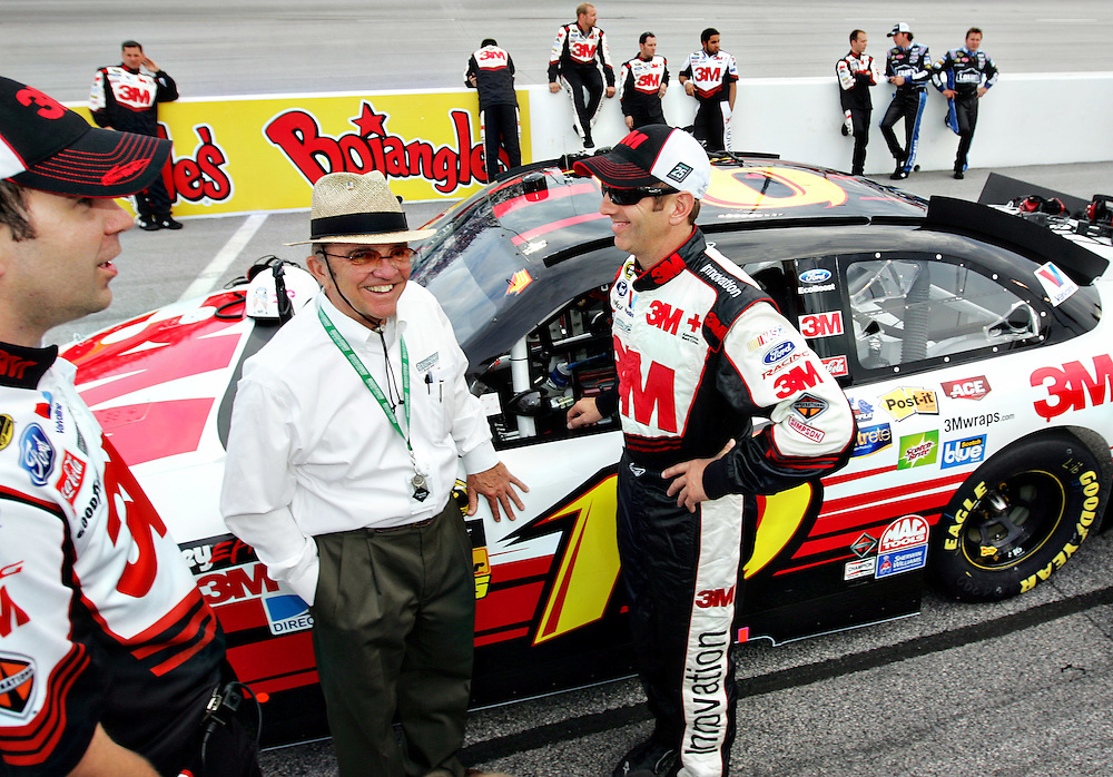 May 12, 2012; Darlington, SC, USA; NASCAR Sprint Cup driver Greg Biffle (16) talks with team owner Jack Roush before the Southern 500 at Darlington Raceway. Mandatory Credit: Peter Casey-US PRESSWIRE.