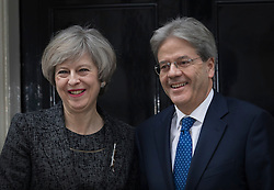 © Licensed to London News Pictures. 09/02/2017. London, UK. Prime Minister Theresa May greets Prime Minister Paolo Gentiloni of Italy in Downing Street .Photo credit: Peter Macdiarmid/LNP