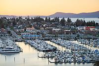 Cape Sante Marina viewed from Cape Sante Park overlook on Fidalgo Island. Anacortes, Washington