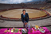 Oscar Higares, a professional bullfighter, with his typical day's worth of food in the bullring in Miraflores De La Sierra, Spain, on a training day. (From the book What I Eat: Around the World in 80 Diets.)  MODEL RELEASED.