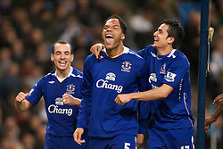 MANCHESTER, ENGLAND - Monday, February 25, 2008: Everton's goalscorer Jolean Lescott celebrates scoring the second goal against Manchester City with team-mates Leon Osman (L) and Tim Cahill (R) during the Premiership match at the City of Manchester Stadium. (Photo by David Rawcliffe/Propaganda)