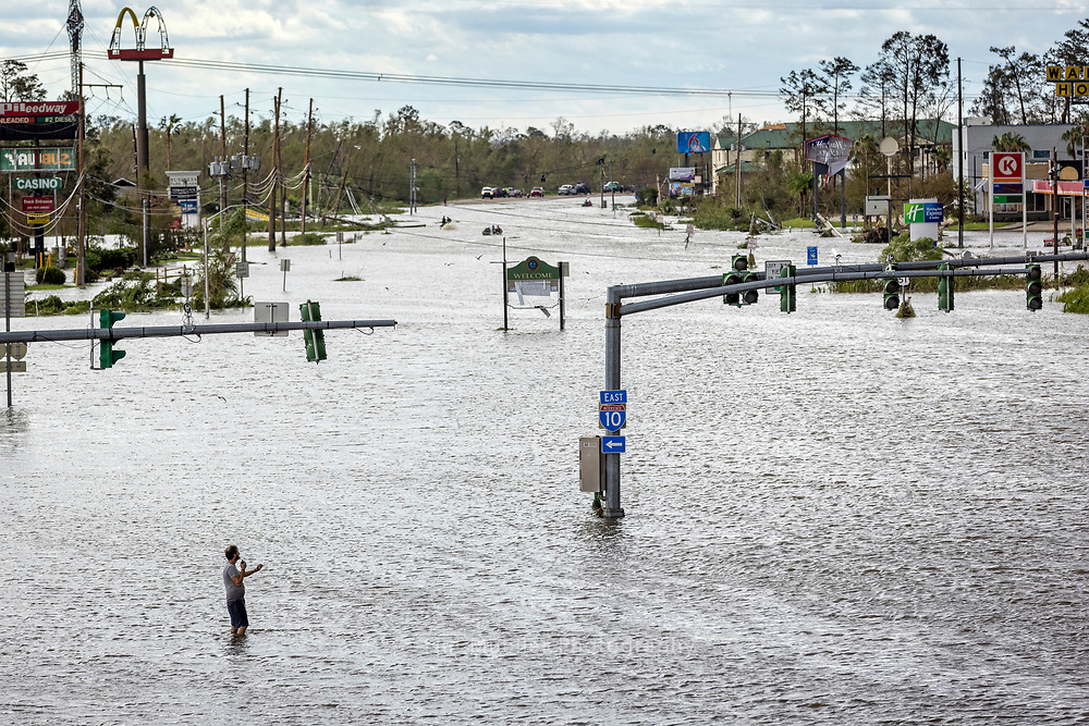 Louisiana Hwy. 51 remains flooded at the Interstate 10 overpass a day after Hurricane Ida's north winds pushed water through LaPlace, La.