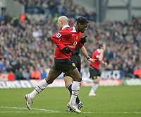 Photo: Lee Earle.<br /> West Bromwich Albion v Manchester United. The Barclays Premiership. 18/03/2006. United's Luis Saha celebrates his opening goal.