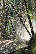 close up of a working water wheel mill