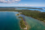 Aerial view of the Baileys Harbor Yacht Club Resort and a lighthouse (foreground), Door County, Wisconsin.