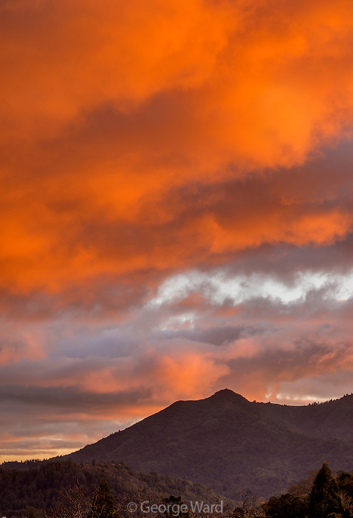 Sunset Cloud Formations and Mount Tamalpais, Marin County, California