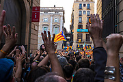 Catalonia declares independence from Spain - crowds fill Placa de Sant Jaume, Barcelona, on October 27, after the Catalan Parliament ratifies the Yes outcome of the independence referendum held on October 1st.