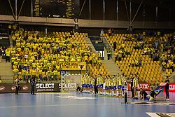 Players of RK Celje Pivovarna Lasko and supporters Florijani fan club during the handball match between RK Celje Pivovarna Lasko (SLO) and Prvo Plinarsko drustvo Zagreb (CRO) in 1st round, group B of EHF Champions League 2016/17 on September 24, 2016 in Arena Zlatorog, Celje, Slovenia. Photo by Ziga Zupan / Sportida