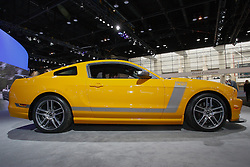 08 February 2012:  2013 Mustang Boss® 302 – One-Track Mind.Get serious with the 444-horsepower,* Hi-Po 302 4V Ti-VCT V8 powerhouse..3.73:1 limited-slip rear axle.Brembo™ front calipers and rotors.Four-gauge instrument cluster.Unique quad exhaust.Adjustable suspension.Optional Laguna Seca Package..Chicago Auto Show, Chicago Automobile Trade Association (CATA), McCormick Place, Chicago Illinois