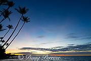 a crescent moon is visible above the post-sunset glow at Anaeho'omalu Bay, Waikoloa Resort Area, South Kohala, Hawaii Island ( the Big Island ), Hawaii, U.S.A. ( Central Pacific Ocean )