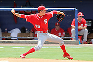 09 June 2012: NC State's Ethan Ogburn. The University of Florida Gators defeated the North Carolina State University Wolfpack 7-1 at Alfred A. McKethan Stadum in Gainesville, Florida in Game 1 of their NCAA College Baseball Super Regional series.