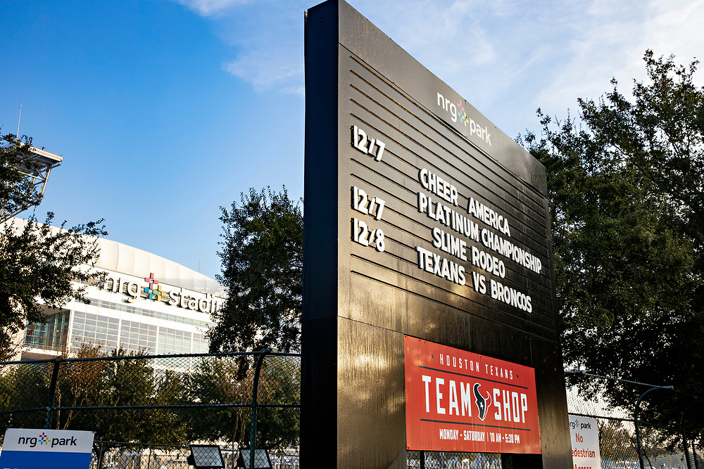 HOUSTON, TX - DECEMBER 8:  Exterior of NRG Stadium, Home of the Houston Texans before a game against the Denver Broncos at NRG Stadium on December 8, 2019 in Houston, Texas.  The Broncos defeated the Texans 38-24.  (Photo by Wesley Hitt/Getty Images) *** Local Caption ***