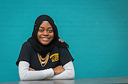 Furaha Shabani poses for a photograph at North Forest High School, February 19, 2015.