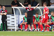 Scunthorpe United manager Stuart McCall with hands in the air during the EFL Sky Bet League 1 match between AFC Wimbledon and Scunthorpe United at the Cherry Red Records Stadium, Kingston, England on 15 September 2018.