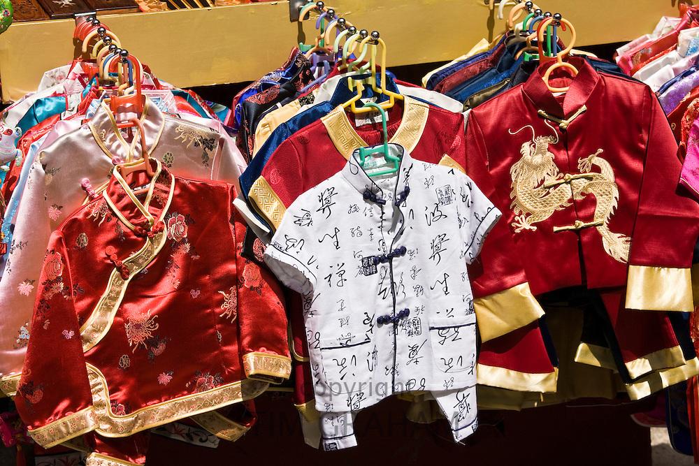 Chinese silk pyjamas for children on sale in Yu Garden Bazaar Market, Shanghai, China