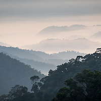 A view of the layered hill tops in the higher elevations of the Kaeng Krachan National Park in Thailand.