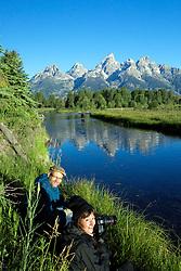 Photographers, moose cow and calf, Shwabackers Landing, Grand Teton National Park, Jackson Hole, Wyoming