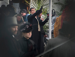 © Licensed to London News Pictures. 09/02/2017. London, UK. Actor Will Ferrell is seen with a pistol as he films a scene from the new Sherlock Holmes movie 'Holmes and Watson' at Hampton Court. Photo credit: Peter Macdiarmid/LNP