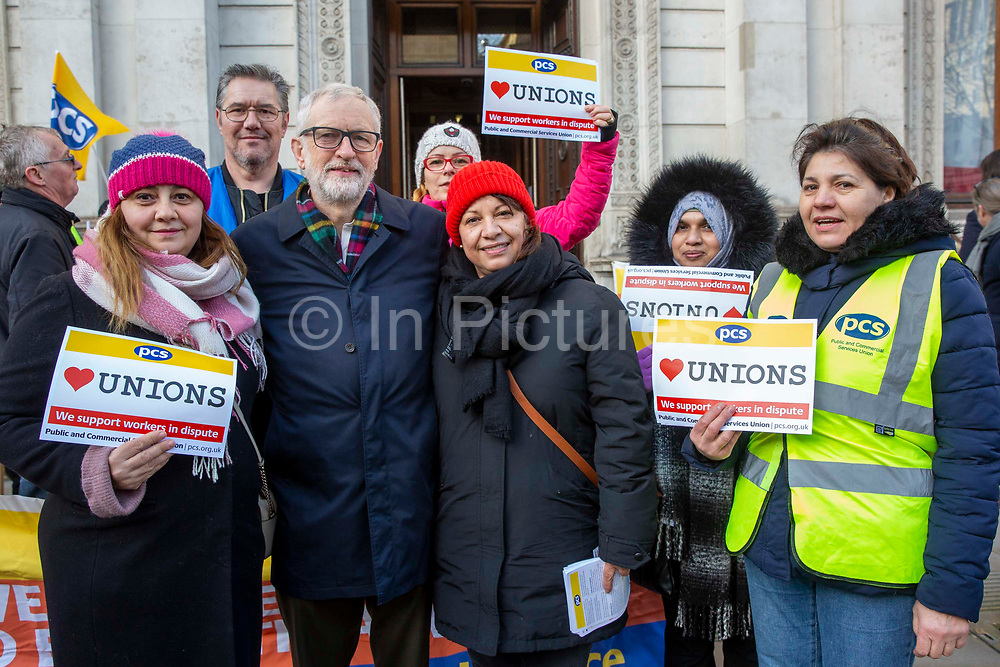 Jeremy Corbyn MP and leader of the Labour Party joins workers of Interserve, the cleaning contractors for the Foreign and Commonwealth Office FCO who are striking for better working conditions and union recognition on the 11th of February 2020 in Westminster, London, United Kingdom.