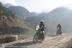 Kelly Modlin on Day-7 of our Himalayan Heroes adventure riding from Tatopani to Pokhara, Nepal. Monday, November 12, 2018. Photography ©2018 Michael Lichter.