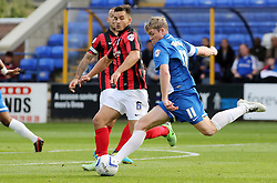 Peterborough United's Grant McCann in action with Preston's Bailey Wright - Photo mandatory by-line: Joe Dent/JMP - Tel: Mobile: 07966 386802 05/10/2013 - SPORT - FOOTBALL - London Road Stadium - Peterborough - Peterborough United V Preston North End - Sky Bet League 1