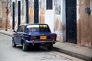 Russian car in Gibara, Holguin, Cuba.