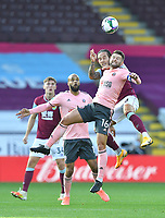 Burnley's Josh Brownhill beats Sheffield  United's Oliver Norwood to the ball<br /> <br /> Photographer Dave Howarth/CameraSport<br /> <br /> Carabao Cup Second Round Northern Section - Burnley v Sheffield United - Thursday 17th September 2020 - Turf Moor - Burnley<br />  <br /> World Copyright © 2020 CameraSport. All rights reserved. 43 Linden Ave. Countesthorpe. Leicester. England. LE8 5PG - Tel: +44 (0) 116 277 4147 - admin@camerasport.com - www.camerasport.com