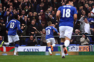Gerard Deulofeu of Everton celebrates after scoring his teams 1st goal. Barclays Premier League match, Everton v Sunderland at Goodison Park in Liverpool on Sunday 1st November 2015.<br /> pic by Chris Stading, Andrew Orchard sports photography.