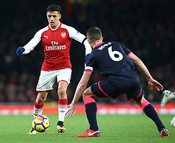 November 29, 2017 - London, England, United Kingdom - Arsenal's Alexis Sanchez in action..during Premier League match between Arsenal and Huddersfield Town at Emirates Stadium, London,  England on 29 Nov   2017. (Credit Image: © Kieran Galvin/NurPhoto via ZUMA Press)
