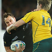 Israel Dagg, New Zealand, is tackled by James )'Connor, Australia, during the New Zealand V Australia Semi Final match at the IRB Rugby World Cup tournament, Eden Park, Auckland, New Zealand, 16th October 2011. Photo Tim Clayton...