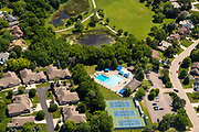 Aerial photograph of Seminole Pool and Tennis courts, Fitchburg, Wisconsin on a sunny summer day.