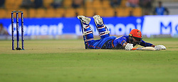 September 20, 2018 - Abu Dhabi, United Arab Emirates - Afghanistan cricketer Rashid Khan  dives in to complete a run during the 6th cricket match of Asia Cup 2018 between Bangladesh and Afghanistan at the Sheikh Zayed Stadium,Abu Dhabi, United Arab Emirates on September 20, 2018. (Credit Image: © Tharaka Basnayaka/NurPhoto/ZUMA Press)