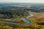 Aerial view of marsh on Daniel Island Charleston, South Carolina.
