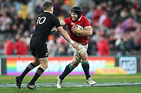 Rugby Union - 2017 British & Irish Lions Tour of New Zealand - Second Test: New Zealand vs. British & Irish Lions<br /> <br /> Beauden Barrett of The All Blacks  and Sean O'Brien of The British and Irish Lions at Westpac Stadium, Wellington.<br /> <br /> COLORSPORT/LYNNE CAMERON
