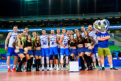 Players of Slovenia celebrate with cheerleaders Ladies during volleyball match between Cuba and Slovenia in Final of FIVB Volleyball Challenger Cup Men, on July 7, 2019 in Arena Stozice, Ljubljana, Slovenia. Photo by Matic Klansek Velej / Sportida