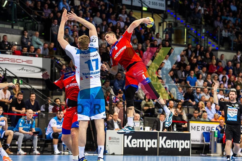Vladan Lipovina (HBW Balingen-Weilstetten #4) ; Samuel Roethlisberger (TVB Stuttgart #17) beim Spiel in der Handball Bundesliga, TVB 1898 Stuttgart - HBW Balingen-Weilstetten.<br /> <br /> Foto © PIX-Sportfotos *** Foto ist honorarpflichtig! *** Auf Anfrage in hoeherer Qualitaet/Aufloesung. Belegexemplar erbeten. Veroeffentlichung ausschliesslich fuer journalistisch-publizistische Zwecke. For editorial use only.