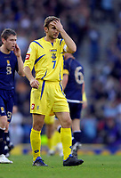 Photo: Jed Wee/Sportsbeat Images.<br /> Scotland v Ukraine. UEFA European Championships Qualifying. 13/10/2007.<br /> <br /> Ukraine's Andriy Shevchenko knows their qualifying campaign will end in failure.