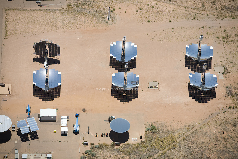 National Solar Thermal Test Facility outside of Albuquerque, NM; The Solar Tower Atmospheric Cherenkov Effect Experiment (STACEE) is an ongoing project at the facility, conducting research on gamma ray emissions by astrophysical sources; the solar mirrors (heliostats) are used to conduct research on solar energy during the day, and astronomical research during the night; facility built between 1997 and 2001.